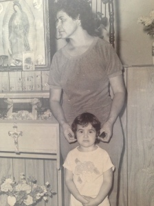 Mom and I in the dining room of my childhood home in Lake Arthur, where the Jesus tortilla lived for a very long time.